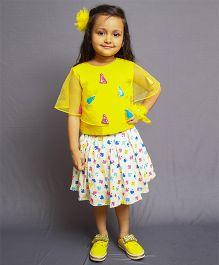 Varsha Showering Trends Top With Heart Print Skirt - Yellow