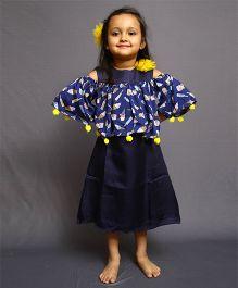 Varsha Showering Trends Cold Shouldered Ice Cream Print Dress - Blue