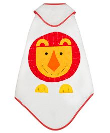 Little Bum Hooded Lion Printed Organic Towel - Multicolour