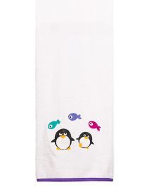 Little Bum Penguins Printed Organic Towel - Multicolor