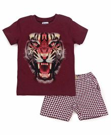 Ventra Boys Tiger Print T-Shirt & Shorts Set - Brown
