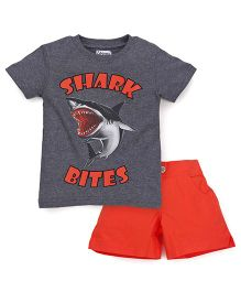 Ventra Boys Shark Bites Tee & Shorts Set - Grey & Orange