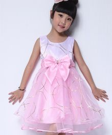 Wonderland Fit & Flare Dress With A Bow  - Pink
