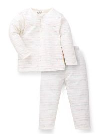 Doreme Full Sleeves Night Suit Multiprint - Off White