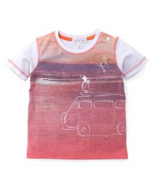 Pumpkin Patch Half Sleeves T-Shirt Sunset Print - Orange