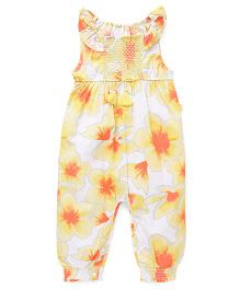 Pumpkin Patch Sleeveless Jumpsuit Floral Print - White