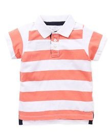Pumpkin Patch Half Sleeves T-Shirt Stripes Print - White Peach