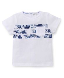 Pumpkin Patch Printed Half Sleeves T-Shirt - White