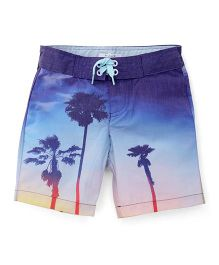 Pumpkin Patch Shorts Palm Trees Print - Blue