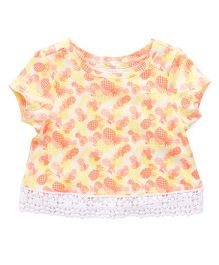 Pumpkin Patch Trim Hem Tee Pineapple Print - Yellow & Orange