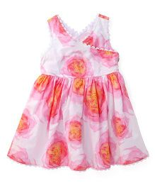 Pumpkin Patch Sleeveless Frock Floral Print - White