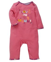 Mothercare Full Sleeves Envelope Neck Romper With Print - Pink