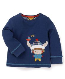 Mothercare Full Sleeves T-Shirt Animal Patch - Navy Blue