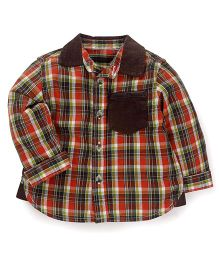 Mothercare Full Sleeves Check Shirt - Red Brown Green