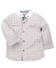 Mothercare Full Sleeves Check Shirt With Pockets - White Multi Color