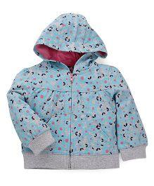 Mothercare Full Sleeves Hooded Sweat Jacket - Grey Sky Blue