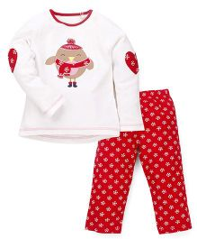 Mothercare Full Sleeves Top And Pajama Bird Print - White Red