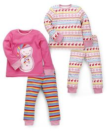 Mothercare Full Sleeves Top And Pajamas Pack of 2 - Dark Pink White