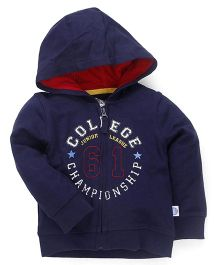 Mothercare Full Sleeves Hooded Sweat Jacket - Dark Blue