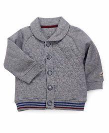 Mothercare Full Sleeves Collar Neck Sweat Jacket - Grey