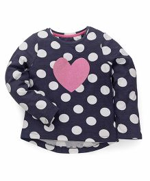 Mothercare Full Sleeves Top Polka & Heart Design - Dark Navy Blue