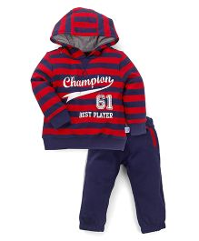 Mothercare Hooded Striped T-Shirt And Bottom Set - Red  Navy