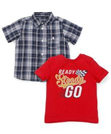 Mothercare Checks Shirt With T-shirt - Grey and Red