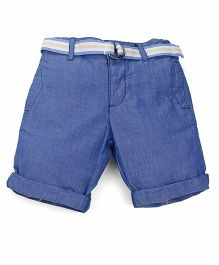 Mothercare Solid Color Shorts With Belt - Blue