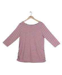 Mothercare Full Sleeves Maternity Top Stripes Pattern - Red & Grey