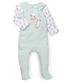 Mothercare Full Sleeves Sleepsuit With Patches - White Green