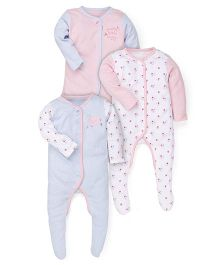 Mothercare Full Sleeves Printed Sleep Suits Pack of 3 - Blue Pink White