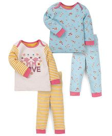 Mothercare Full Sleeves Night Suit Pack of 2 - Blue Yellow