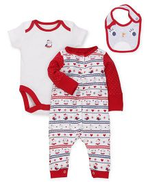 Mothercare Onesie Romper and Bib Set - Red White