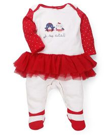 Mothercare Sleepsuit Printed With Polka Dots - Red And White
