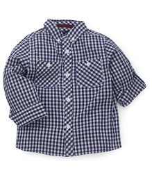 Mothercare Full Sleeves Check Shirt With Two Pockets - Blue