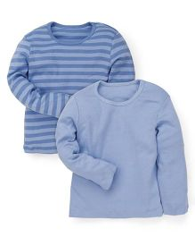 Mothercare Full Sleeves Striped And Solid Color T-Shirts Set Of 2 - Blue
