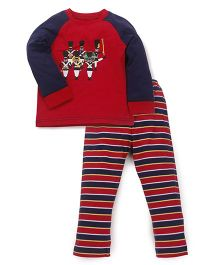 Mothercare Full Sleeves Night Suit Band Party Print - Red