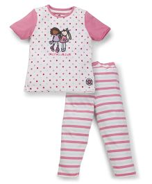 Mothercare Printed Half Sleeves Night Suit - Pink White