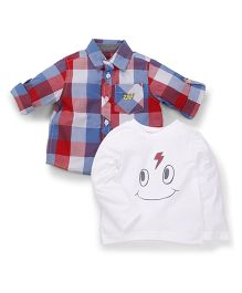 Mothercare Full Sleeves T-Shirt And Check Shirt - White Red Blue