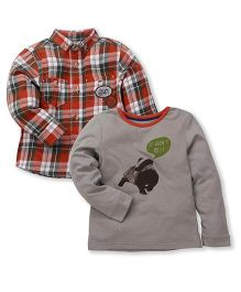 Mothercare Full Sleeves Shirt And T-Shirt Set Multi Print - Orange Grey