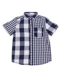 Mothercare Half Sleeves Checks Shirt - Navy White