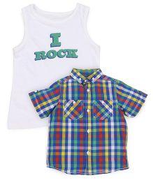 Mothercare Half Sleeves Checks Shirt And Sleeveless Tee - Multicolor