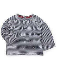 Mothercare Full Sleeves Stripes Top - White Navy
