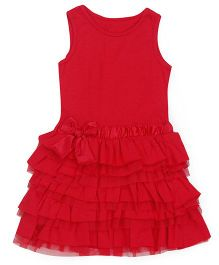 Mothercare Sleeveless Frock With Frills - Red