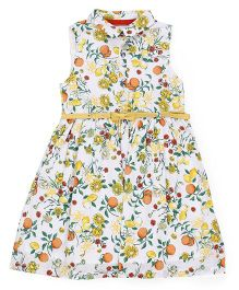 Mothercare Sleeveless Frock Floral Print - White Yellow