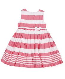 Mothercare Sleeveless Stripes Frock - White Pink