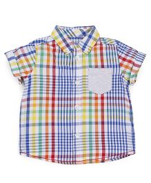 Mothercare Boys Half Sleeves Checks Shirt With Pocket - Multicolor