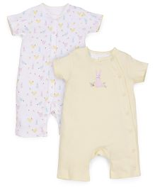Mothercare Romper Printed And Plain Pack Of 2 - White And Yellow