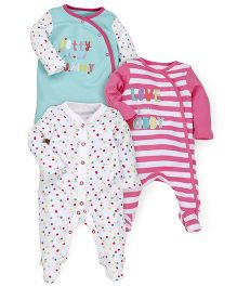 Mothercare Full Sleeves Printed Sleep Suit Pack of 3 - Multi Color