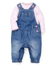 Mothercare Dungaree With Onesie - Blue And Pink